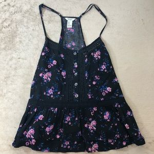Forever 21 Black Tank With Flowers